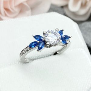 Round CZ Marquise Blue Sapphire 925 Silver Ring